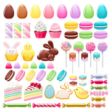 Colorful Easter Icons Set Vect...