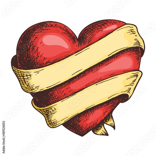 Valokuva Hand drawn red heart with ribbon, colorful draft sketch isolated on white background