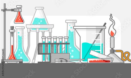 Fotografia  Scientific and laboratory materials and tools in Still Life composition