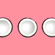 Coconut Flat Lay Three Halves Of Coconut Are Lying On Pink Background Top View Minimalistic Photo Mockup With Space For Text