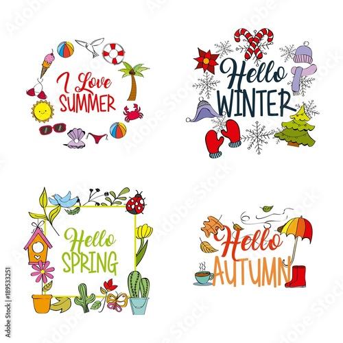 Stampa su Tela weather season winter summer autumn spring vector illustration