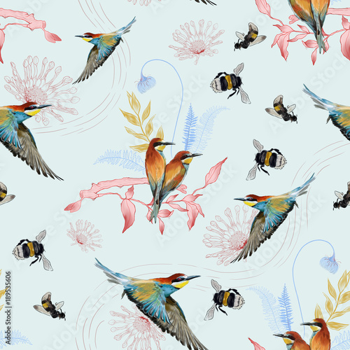 Cotton fabric Seamless pattern of african bee eater