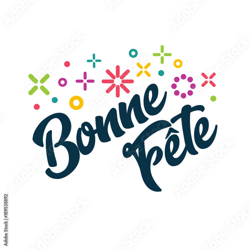 Bonne Fete - French Happy Birthday Greeting Invitation Card Slika na platnu