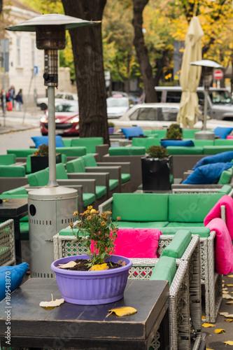 In de dag Illustratie Parijs Belgrade, Serbia October 28, 2016: Outdoors cafe garden in Belgrade, Serbia