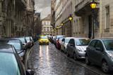 Fototapeta Uliczki - Budapest, Veres Pálné narrow street full of parked cars
