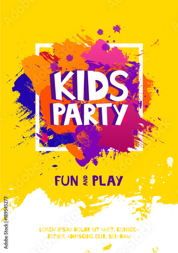 kids party letter sign poster  cartoon letters and