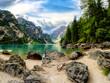 canvas print picture - Pragser Wildsee, Dolomiten, Südtirol
