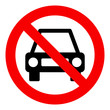 No car or no parking traffic sign, prohibit sign, isolated on white background, vector illustration.