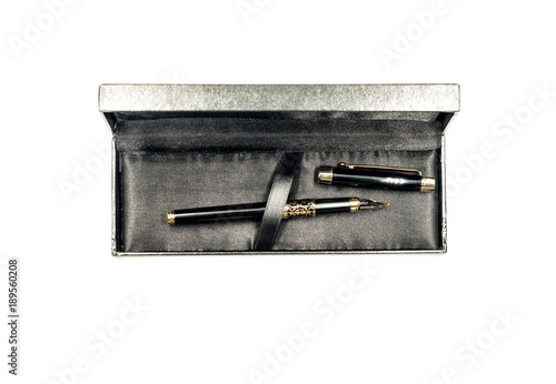 Obraz luxury black ink pen in the box isolated on white - fototapety do salonu