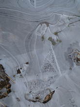 Close-up Of Frozen Puddle Ice ...