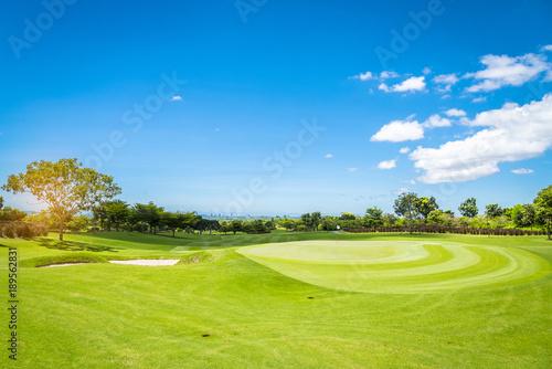Deurstickers Groene Sand Bunker on green golf court