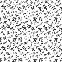 Pi Symbol Seamless Pattern Vector Illustration. Hand Drawn Sketched Grunge Mathematical Signs And Formulas, Vector Illustration