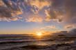 江の島海岸に沈む夕陽
