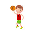 Little boy playing basketball, kids physical activity cartoon vector Illustration