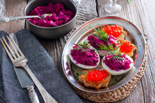 Stuffed Eggs With Beets And Sa...