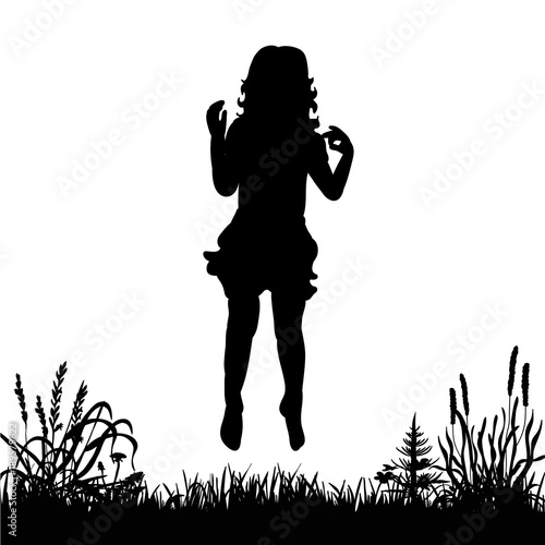 62e652d5 isolated silhouette little girl jumping on the grass on a white background