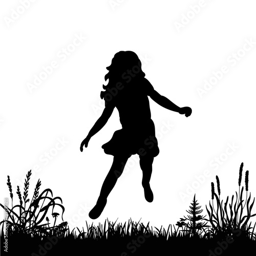 b1a38b8c isolated silhouette little girl jumping against a white background ...