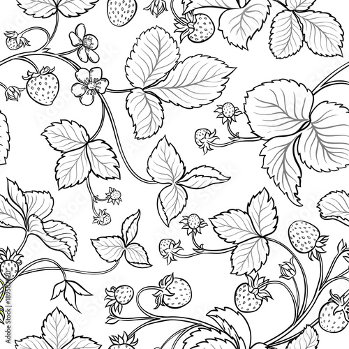 Poster Floral black and white strawberry seamless pattern