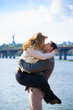 A middle-aged couple in love enjoys each other in embraces. The concept of relations without barriers, love and sincerity are all that is needed for happiness