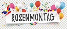 Rosenmontag Banner Mit Papierzettel, Luftballons Und Girlanden