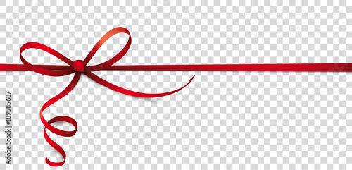 Card Red Thin Ribbon Bow Header Transparent Fototapete