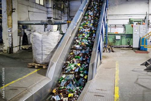 Valokuva  production line for the processing of plastic waste in the factory