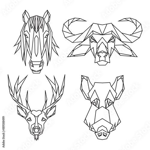 Geometric Vector Animal Set Of Bull Deer Horse And Wild Hog Vector
