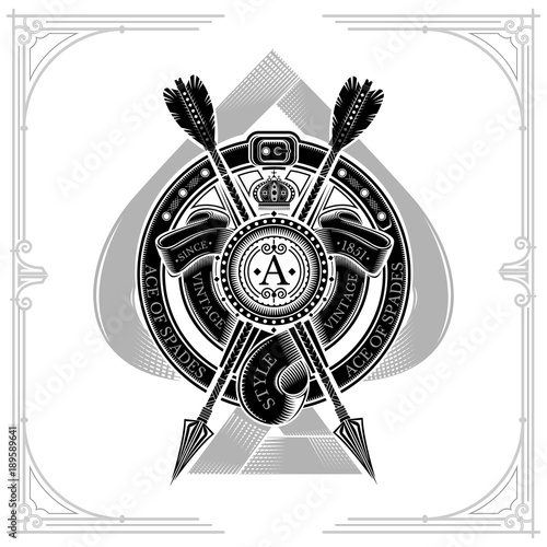 Photo Ace of spades with round shield and cross arrow, ribbons into round belt frame