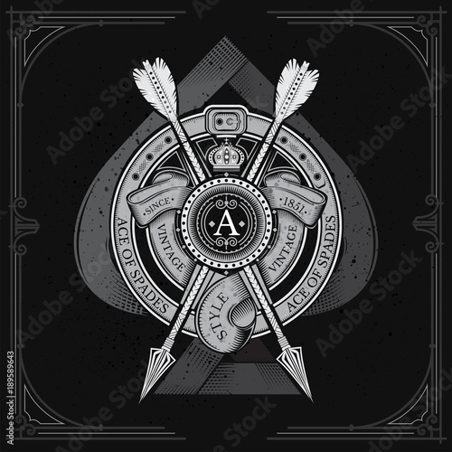Ace of spades with round shield and cross arrow, ribbons into round belt frame Wallpaper Mural
