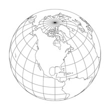 Outline Earth Globe With Map O...