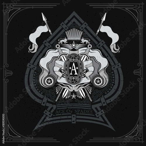 Photo  Coat of arms with crossed swords and spears in the center of ace of spades