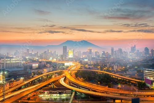 Poster Bangkok Landscape city skyline at dusk.