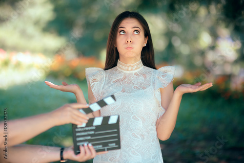 Valokuvatapetti Funny Actress Auditioning for Movie Film Video Casting