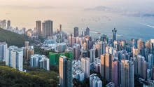 Aerial View Shot From Drone Victoria Harbour View From Victoria Peak, Hong Kong Skyline Cityscape, Victoria Peak, Hong Kong, China.