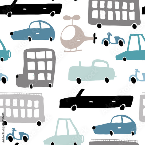 Staande foto Cartoon cars Seamless pattern with hand drawn transport Cartoon cars, helicopter vector illustration.Perfect for kids fabric,textile,nursery wallpaper