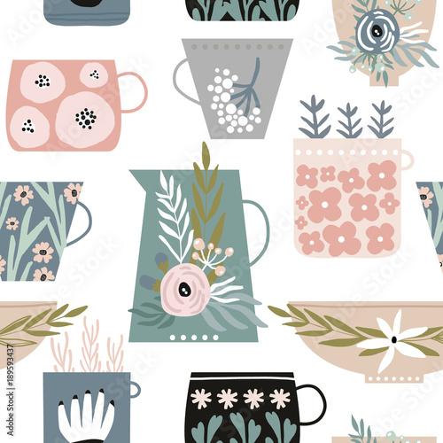 bezszwowy-minimalistyczny-wzor-z-kwiatami-w-filizankach-kubkach-i-talerzach-kreatywne-tlo-mody-idealny-do-tkanin-opakowan-tapet-tekstyliow-odziezy