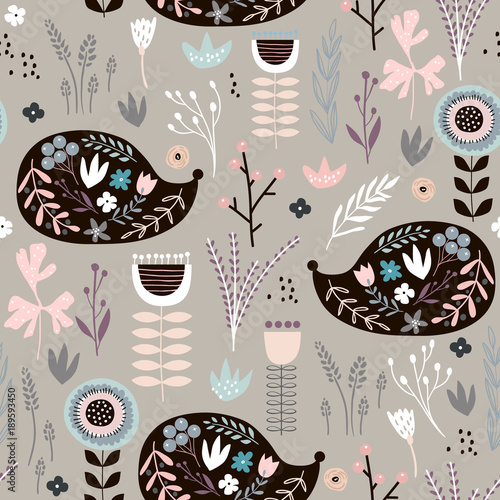 Cotton fabric Seamless pattern hedgehogs with floral elements, branches. Creative woodland background. Perfect for kids apparel,fabric, textile, nursery decoration,wrapping paper.Vector Illustration