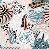 Palm branch trendy seamless pattern with hand drawn elements. Abstract tropical background. Great for fabric, textile Vector Illustration - 189593896