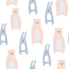 Fototapeta Seamless childish pattern with cute bear and bunny. Creative kids design. Perfect for fabric, textile, warpping, nursery.Vector Illustration