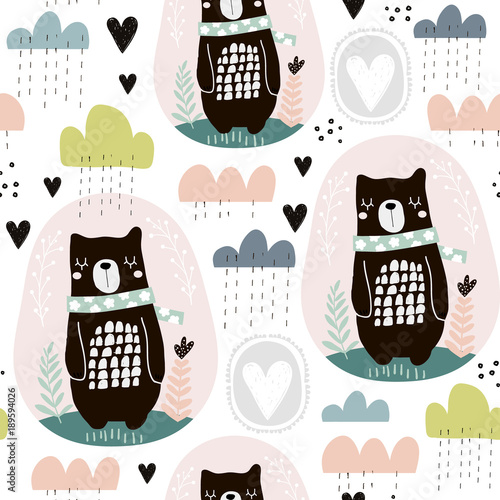 Cotton fabric Seamless pattern with bear, floral elements, branches, clouds. Creative scandinavian style background. Perfect for kids apparel,fabric, textile, nursery decoration,wrapping paper.