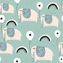 Seamless Pattern With Cute Elephants With Balloons In Scandinavian Style. Creative Vector Childish Background For Kids Fabric, Textile,wrapping, Apparel