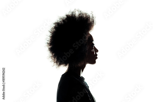 Photo silhouette of african american woman with afro hairstyle isolated on white