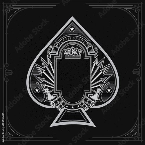 Vintage weapon and arrows with frame in the middle of ace of spades form Wallpaper Mural