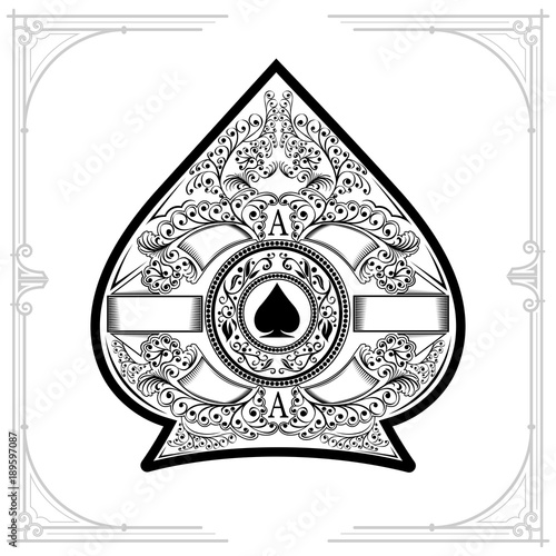 Floral pattern aroud circle shield with spades in the center inside ace of spades form Canvas Print