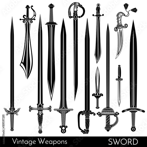 Big set of different vintage steel arms isolaten on white Canvas Print
