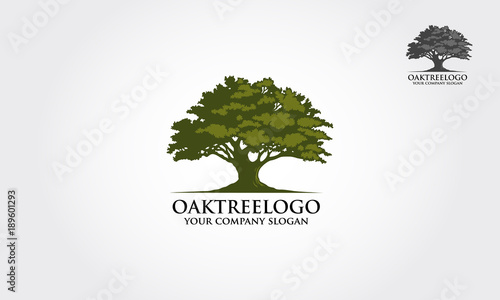Fotografie, Tablou Oak tree logo illustration. Vector silhouette of a tree.