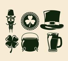 Saint Patricks Day Elements Set In Green Color Silhouette Vector Illustration