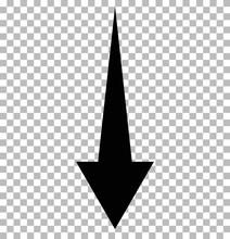 Black Down Arrow On Tramsparent. Down Arrow.  Black Down Arrow Sign.