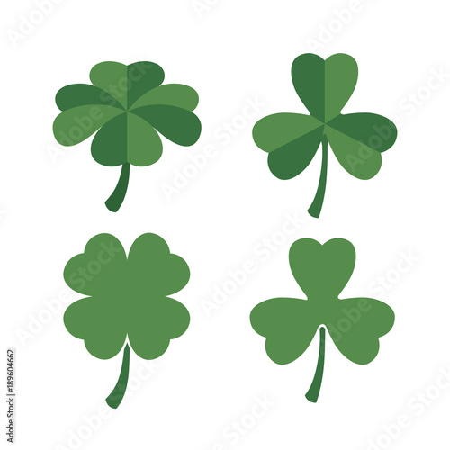 clovers set of four and three leaves in colorful silhouette over white background vector illustration Wall mural