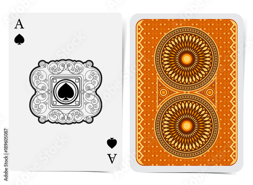 Photo  Ace of spades face with spades inside curly pattern square frame and back with golden orange geometrical pattern suit